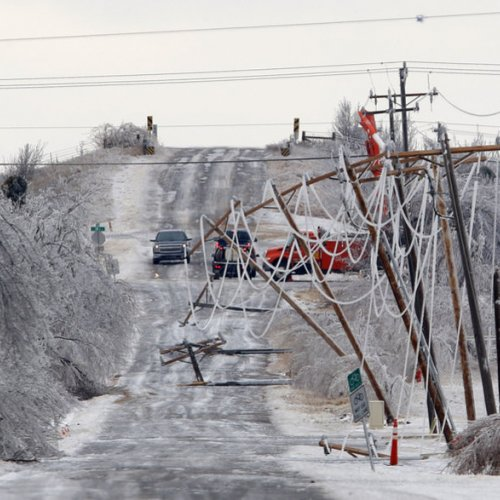 Downed power lines from ice storm in Oklahoma. Photo from Oklahoman.com.